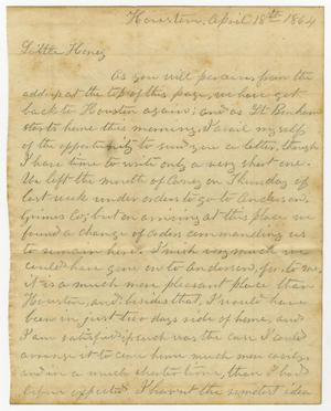 Primary view of object titled '[Letter from L. D. Bradley to Minnie Bradley - April 18, 1864]'.