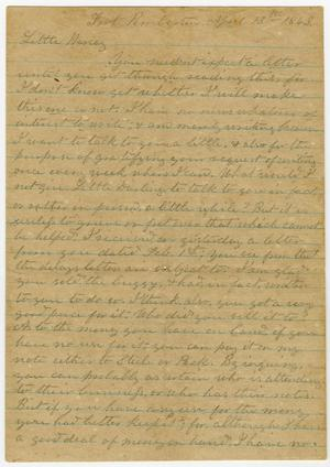 Primary view of object titled '[Letter from L. D. Bradley to Minnie Bradley - April 13, 1863]'.