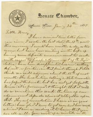 Primary view of [Letter from L. D. Bradley to Minnie Bradley - January 24, 1875]