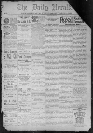 Primary view of object titled 'The Daily Herald (Brownsville, Tex.), Vol. 5, No. 70, Ed. 1, Wednesday, September 23, 1896'.