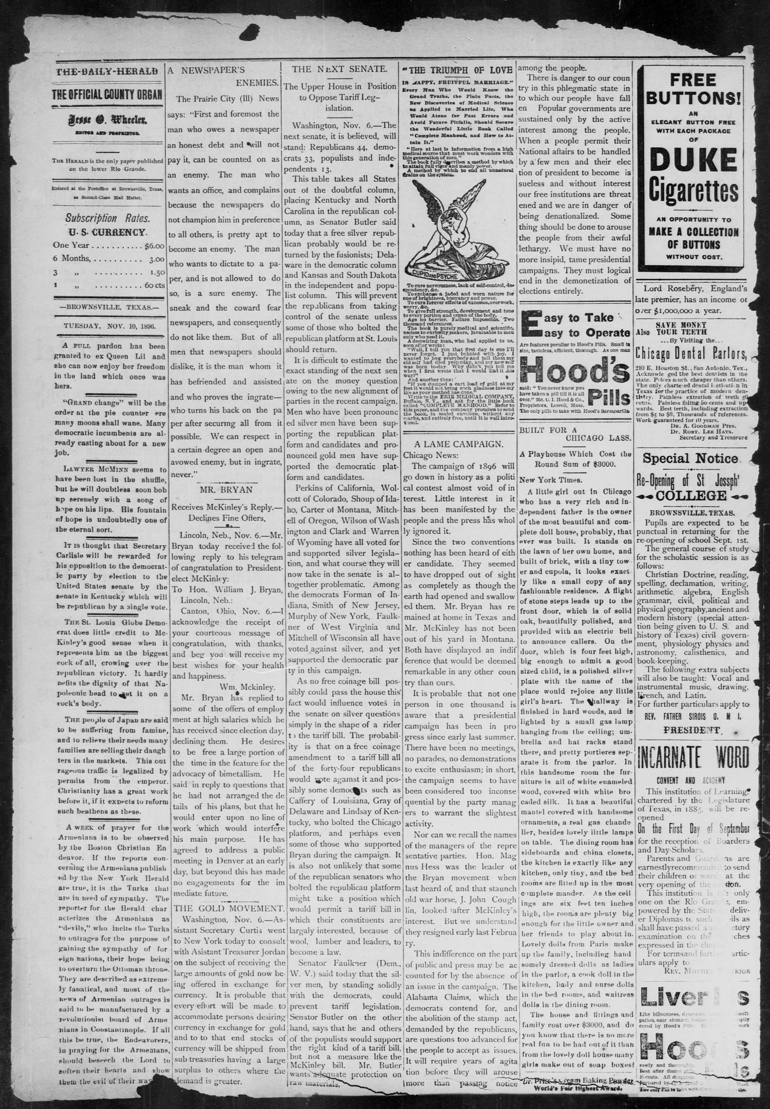 The Daily Herald (Brownsville, Tex.), Vol. 5, No. 111, Ed. 1, Tuesday, November 10, 1896                                                                                                      [Sequence #]: 6 of 8