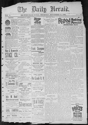 Primary view of object titled 'The Daily Herald (Brownsville, Tex.), Vol. 5, No. 125, Ed. 1, Thursday, November 26, 1896'.