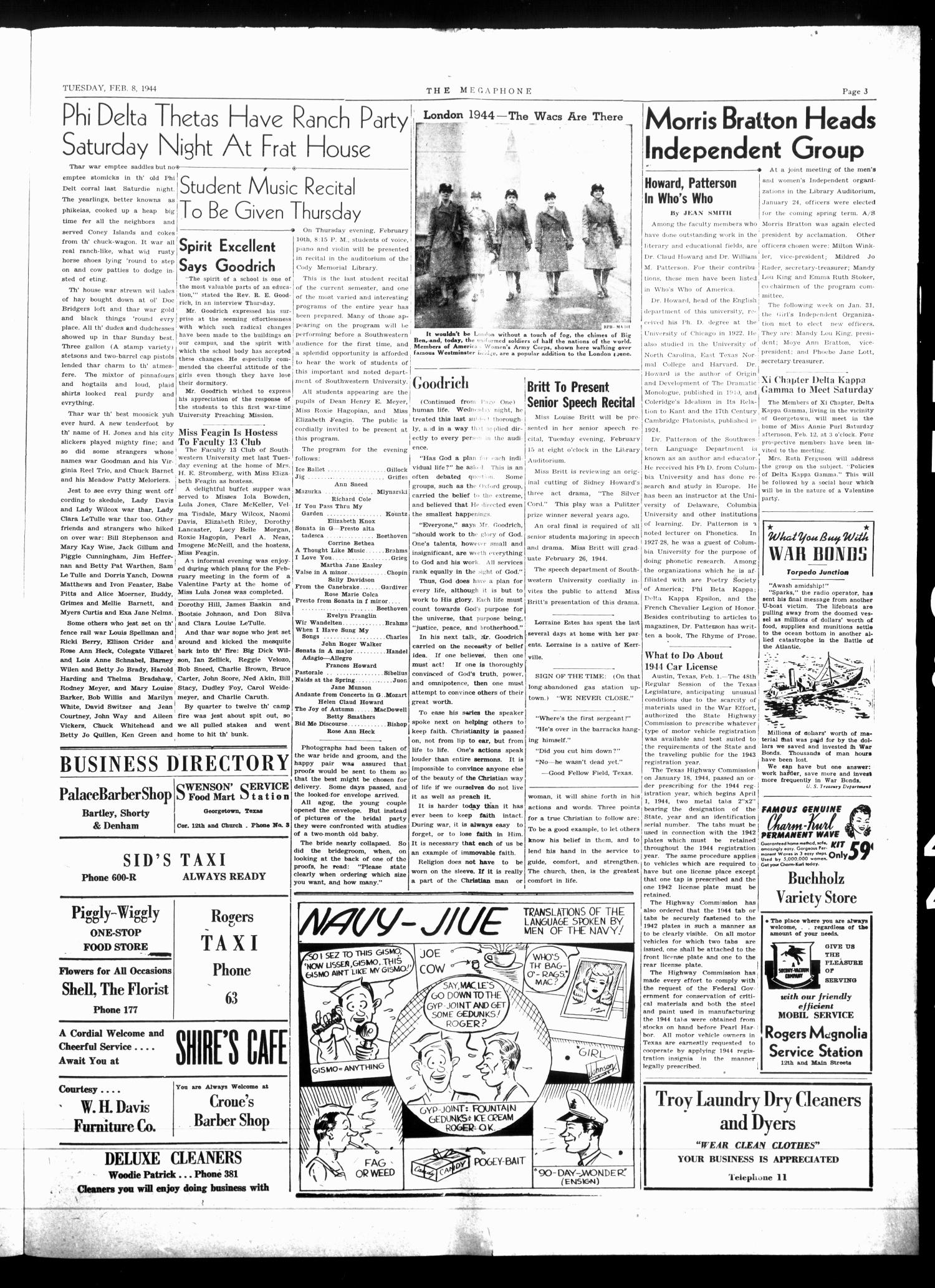 The Megaphone (Georgetown, Tex.), Vol. 38, No. 28, Ed. 1 Tuesday, February 8, 1944                                                                                                      [Sequence #]: 3 of 4