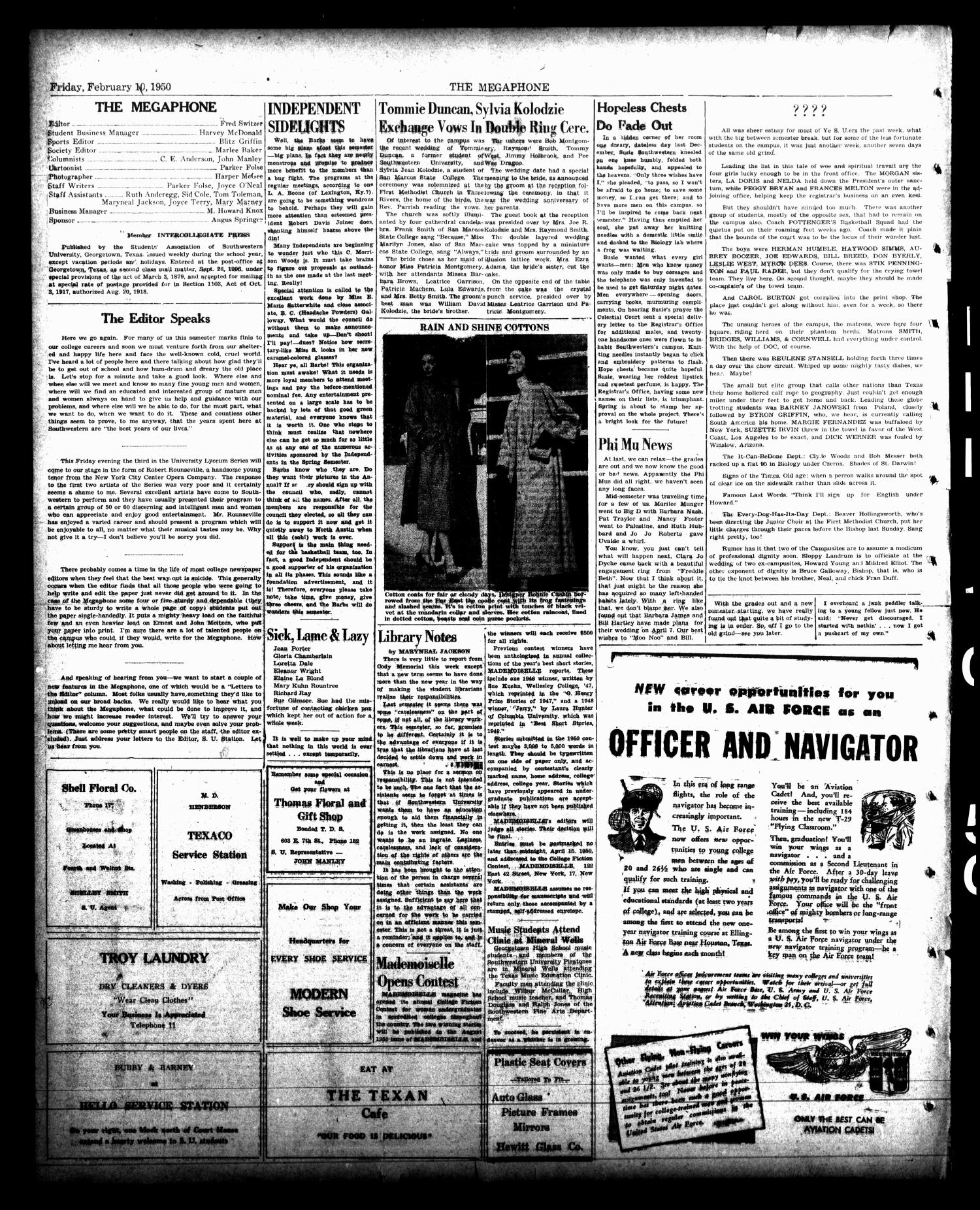 The Megaphone (Georgetown, Tex.), Vol. 42, No. 15, Ed. 1 Friday, February 10, 1950                                                                                                      [Sequence #]: 2 of 4