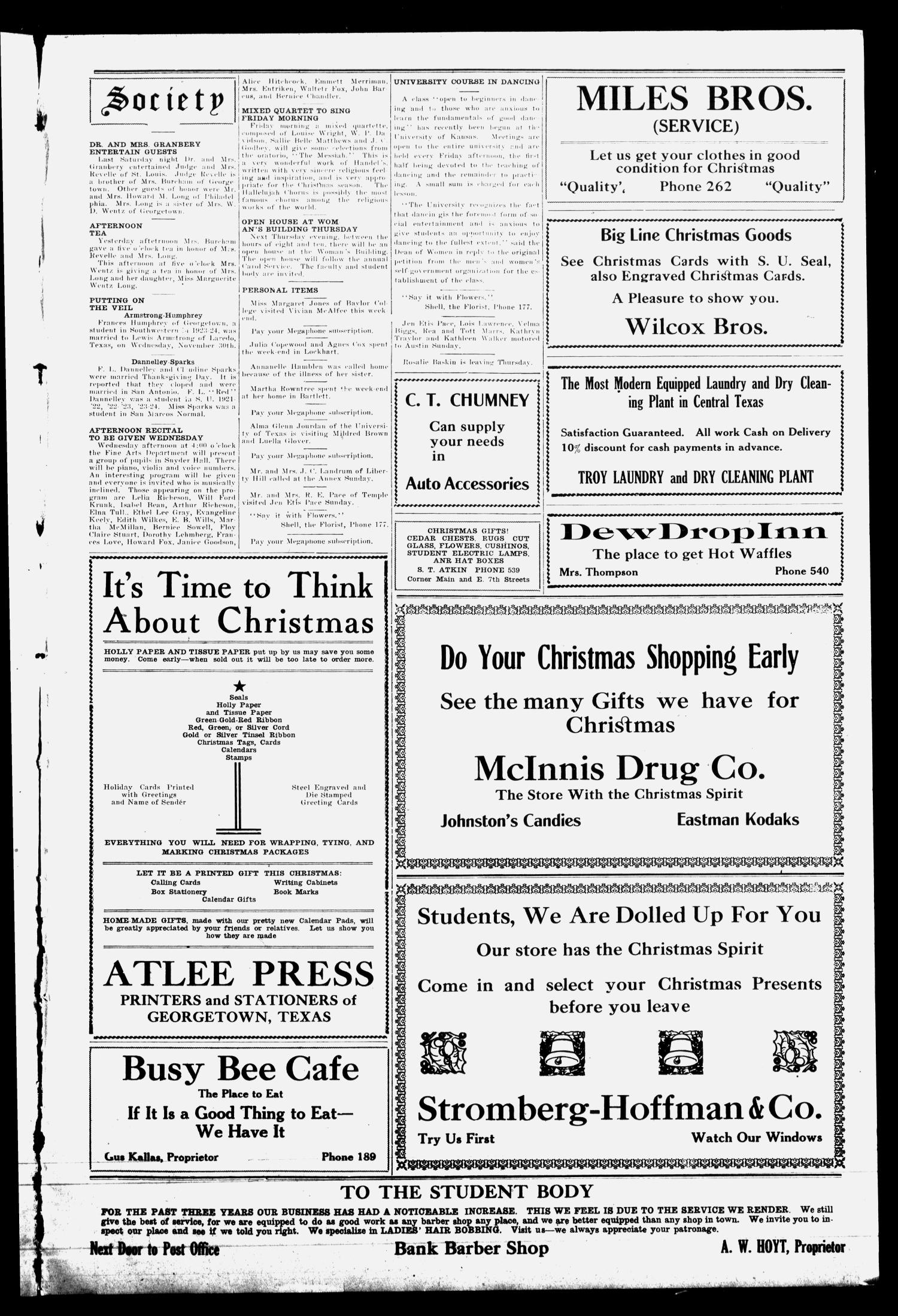 The Megaphone (Georgetown, Tex.), Vol. 18, No. 10, Ed. 1 Tuesday, December 9, 1924                                                                                                      [Sequence #]: 3 of 4