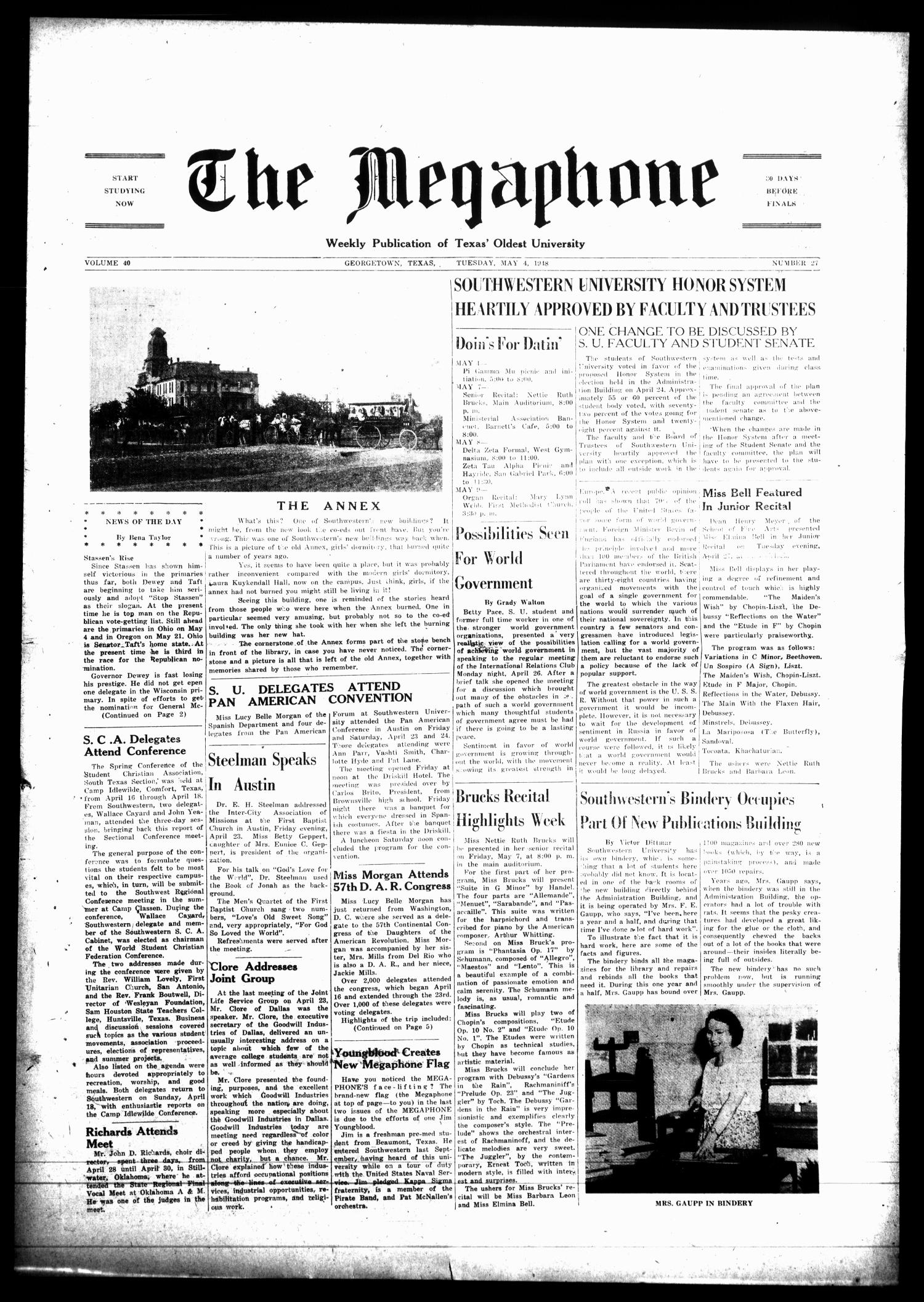 The Megaphone (Georgetown, Tex.), Vol. [41], No. 27, Ed. 1 Tuesday, May 4, 1948                                                                                                      [Sequence #]: 1 of 6