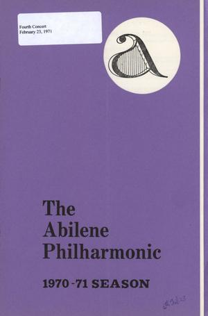 Primary view of object titled 'Abilene Philharmonic Playbill: February 23, 1971'.