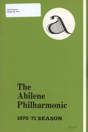Primary view of object titled 'Abilene Philharmonic Playbill: January 26, 1971'.