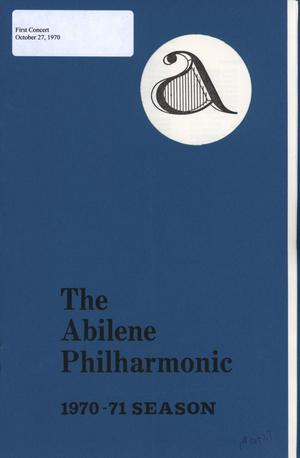 Primary view of object titled 'Abilene Philharmonic Playbill: October 27, 1970'.