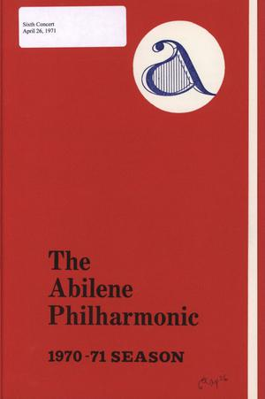 Primary view of object titled 'Abilene Philharmonic Playbill: April 26, 1971'.