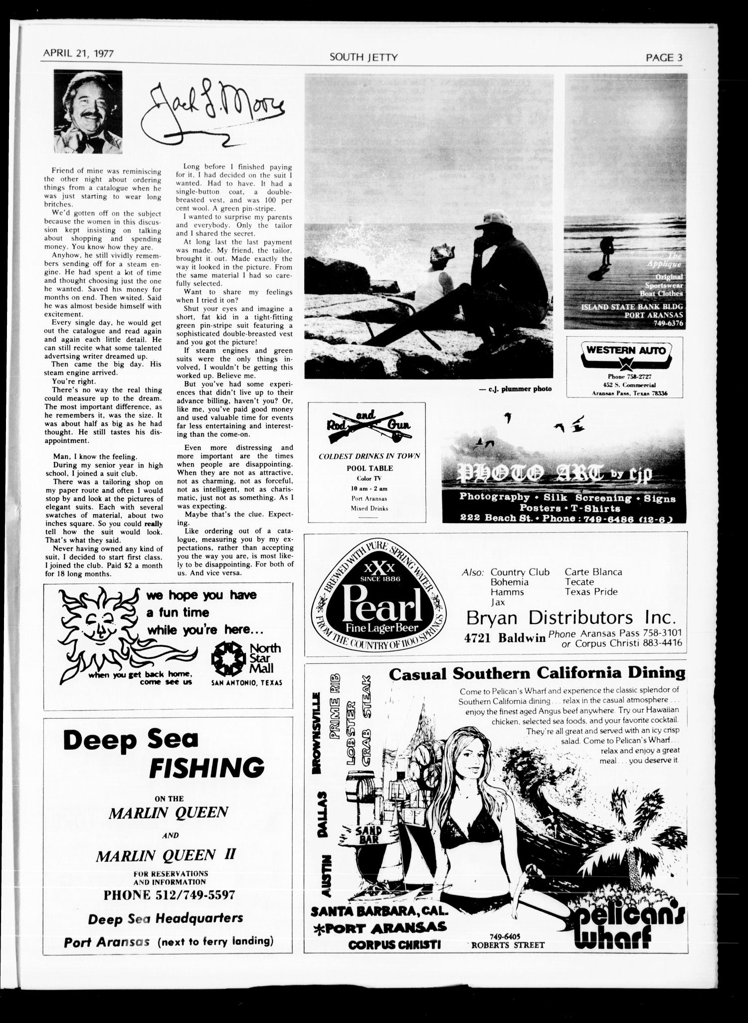 Port Aransas South Jetty (Port Aransas, Tex.), Vol. 6, No. 24, Ed. 1 Thursday, April 21, 1977                                                                                                      [Sequence #]: 3 of 8