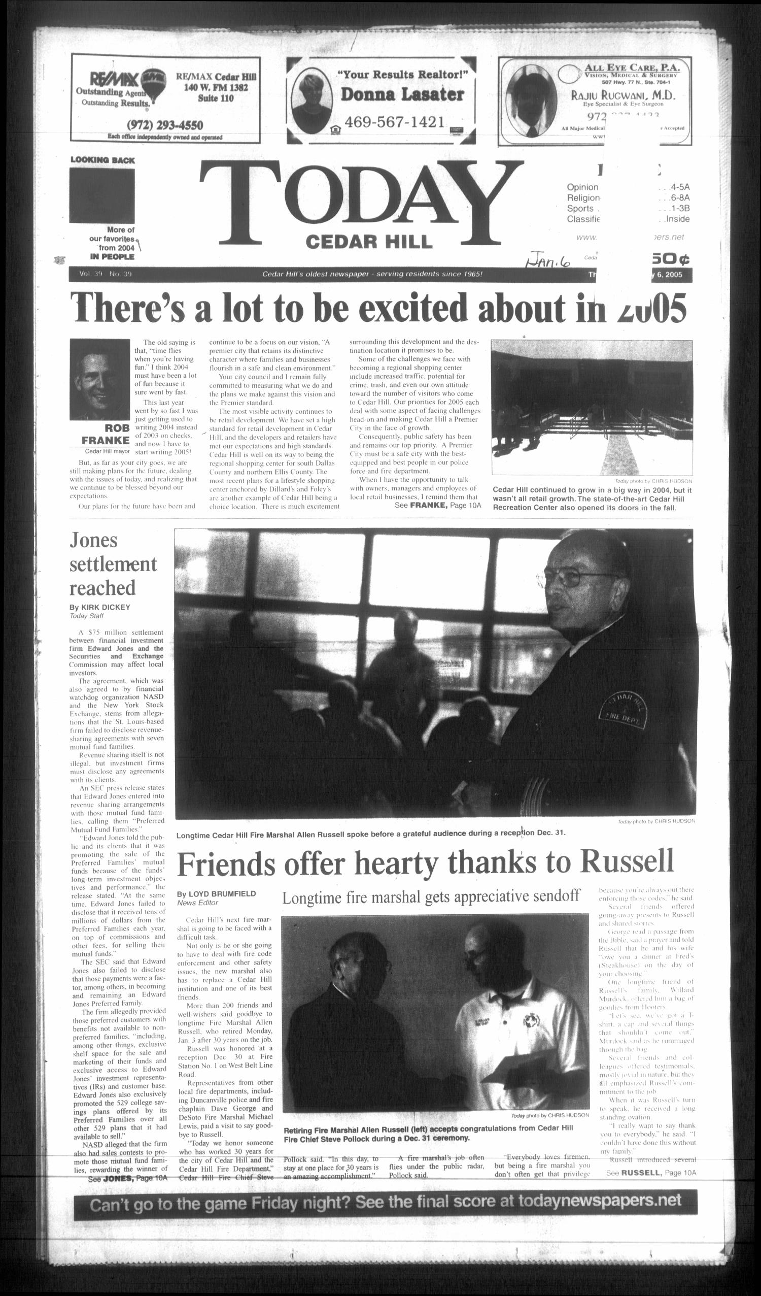 Today Cedar Hill (Duncanville, Tex.), Vol. 39, No. 39, Ed. 1 Thursday, January 6, 2005                                                                                                      [Sequence #]: 1 of 26