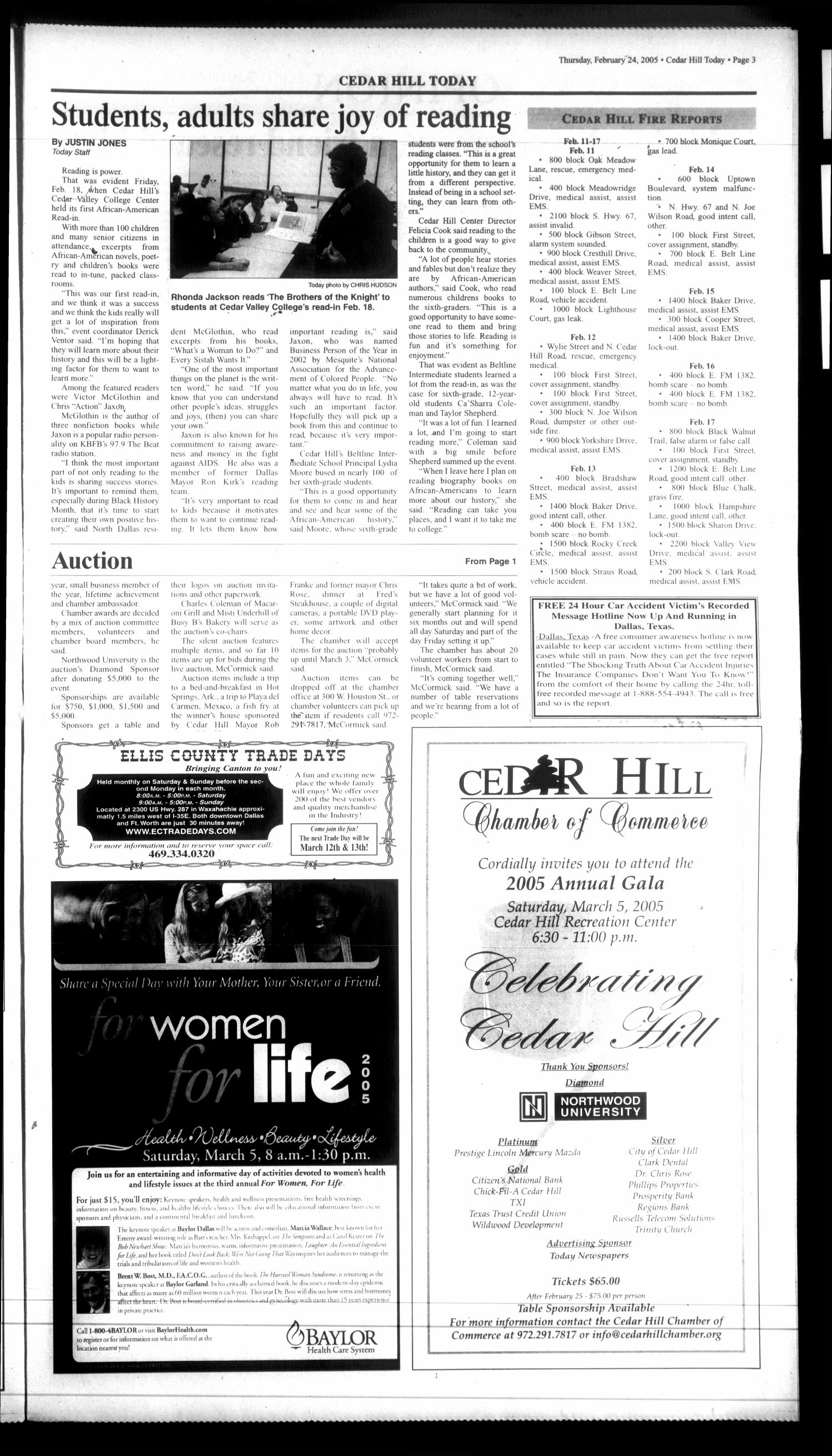 Today Cedar Hill (Duncanville, Tex.), Vol. 39, No. 45, Ed. 1 Thursday, February 24, 2005                                                                                                      [Sequence #]: 3 of 20