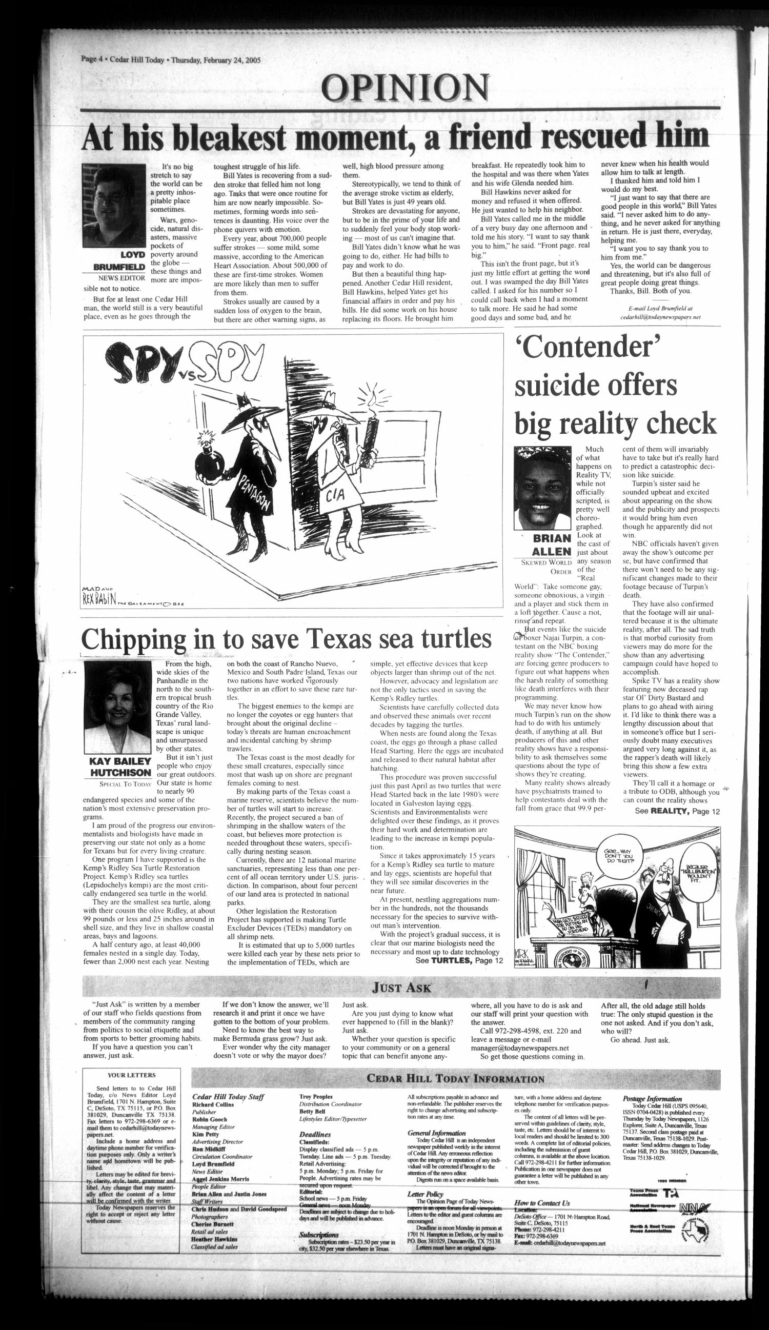 Today Cedar Hill (Duncanville, Tex.), Vol. 39, No. 45, Ed. 1 Thursday, February 24, 2005                                                                                                      [Sequence #]: 4 of 20