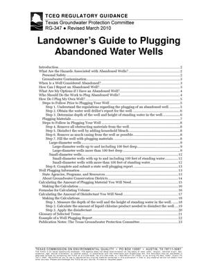 Primary view of object titled 'Landowner's Guide to Plugging Abandoned Water Wells'.
