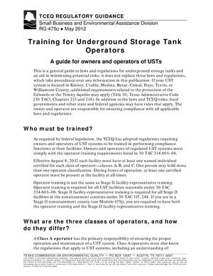 Primary view of object titled 'Training for Underground Storage Tank Operators'.