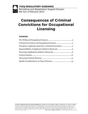 Primary view of object titled 'Consequences of Criminal Convictions for Occupational Licensing'.