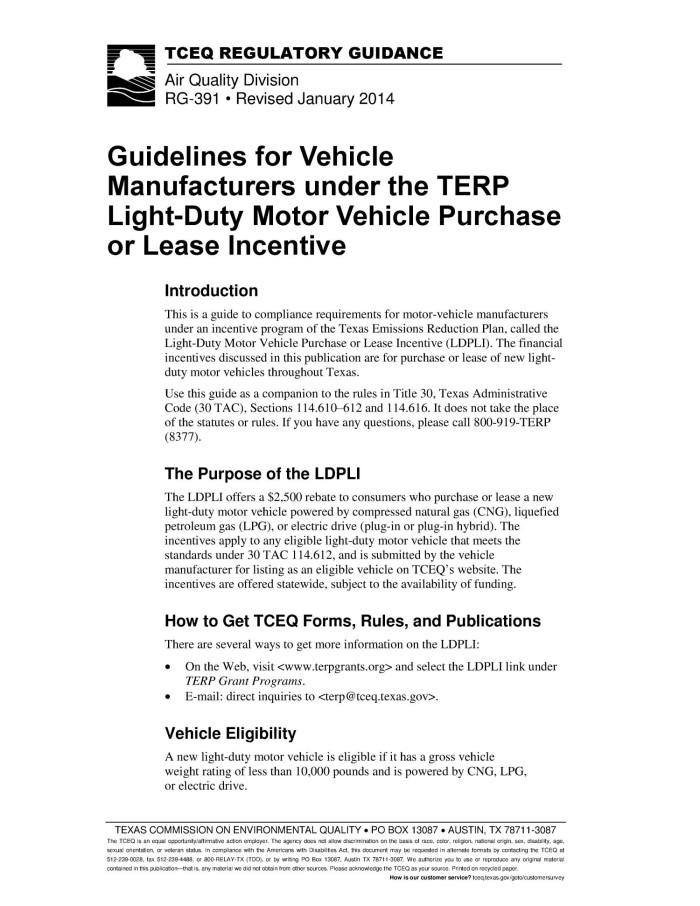 Guidelines for Vehicle Manufacturers under the TERP Light-Duty Motor Vehicle Purchase or Lease Incentive