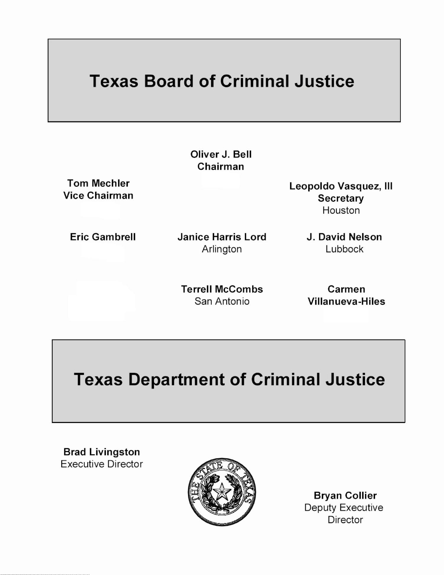 Texas Department of Criminal Justice Statistical Report: 2012                                                                                                      None