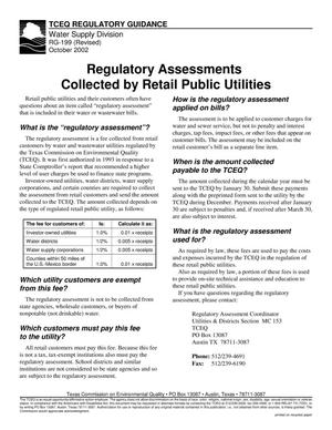 Primary view of object titled 'TCEQ Regulatory Assessments Collected by Retail Public Utilities'.