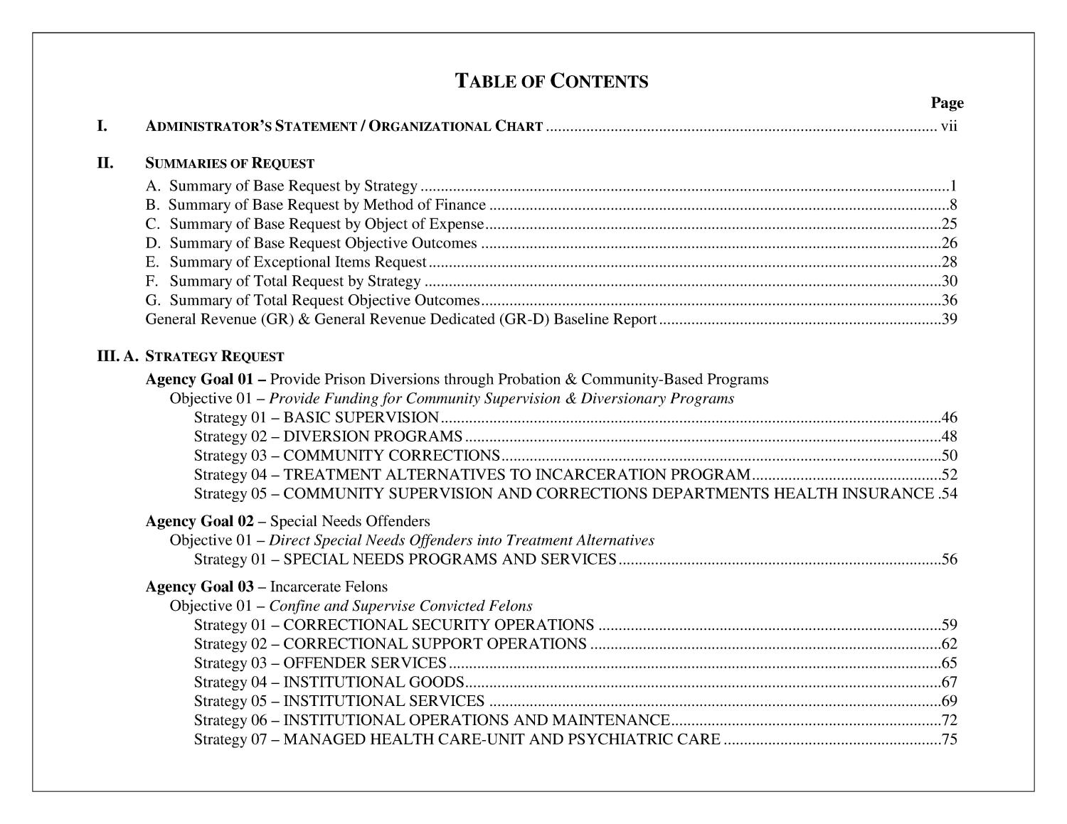 Legislative Appropriations Request for Fiscal Years 2014 and 2015                                                                                                      I
