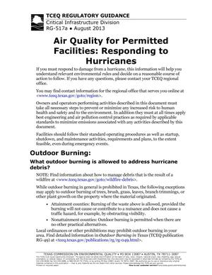 Primary view of object titled 'Air Quality for Permitted Facilities: Responding to Hurricanes'.