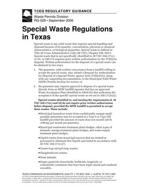Primary view of object titled 'Texas Commission on Environmental Quality Regulatory Guidance RG-029 Special Waste Regulations in Texas'.