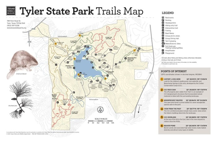 Tyler State Park Map Tyler State Park Trails Map   The Portal to Texas History