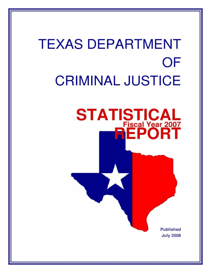 Texas Department of Criminal Justice Statistical Report: 2007 - The