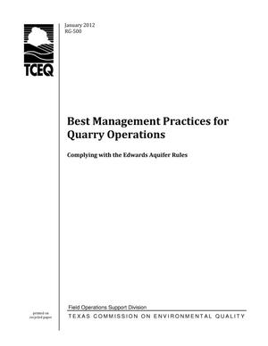 Primary view of object titled 'Best Management Practices for Quarry Operations: Complying with Edwards Aquifer Rules'.