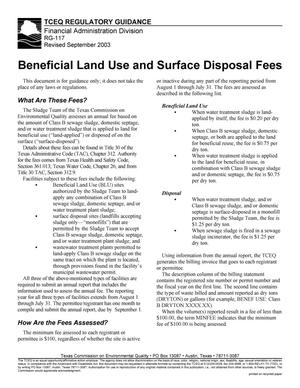 Primary view of object titled 'Texas Commission on Environmental Quality Regulatory Guidance RG-117 Beneficial Land Use and Surface Disposal Fees'.