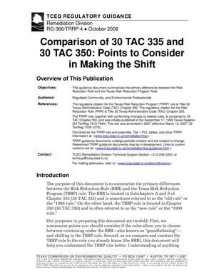 Primary view of object titled 'Comparison of 30 TAC 335 and 30 TAC 350: Points to Consider in Making the Shift'.