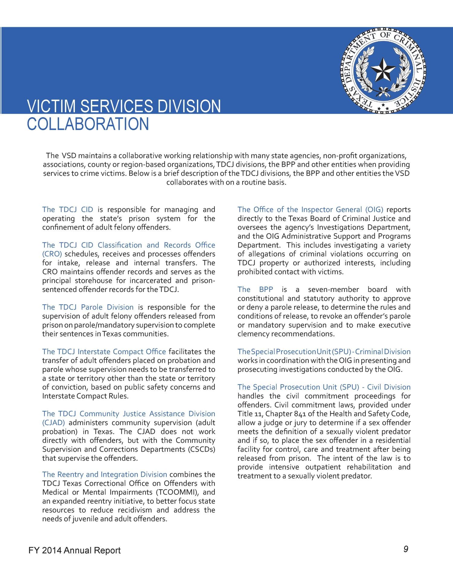 TDCJ Victim Services Division Fiscal Year 2014 Annual Report