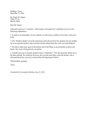 [Translation of Letter from Concordia College Board of Control to William Hagen, September 17, 1929]