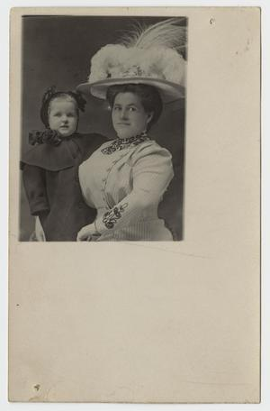 Primary view of object titled '[Postcard Featuring Frances McClellan and Leila McClellan Johnson]'.