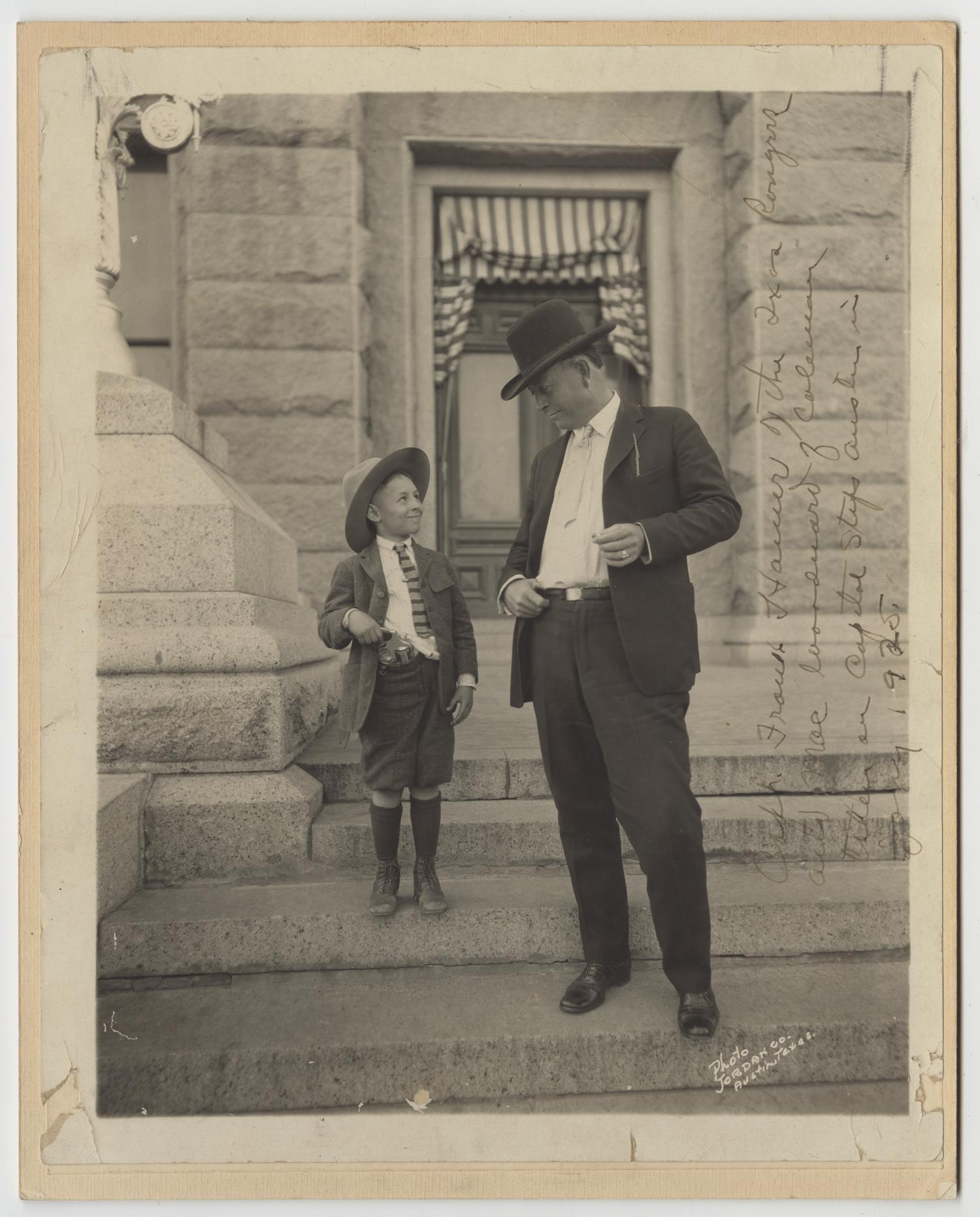 [Captain Frank Hamer and Walter M. Woodward on the Steps of the Texas Capitol]                                                                                                      [Sequence #]: 1 of 2