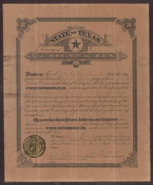 Primary view of object titled '[Walter C. Woodward's Texas Law License]'.