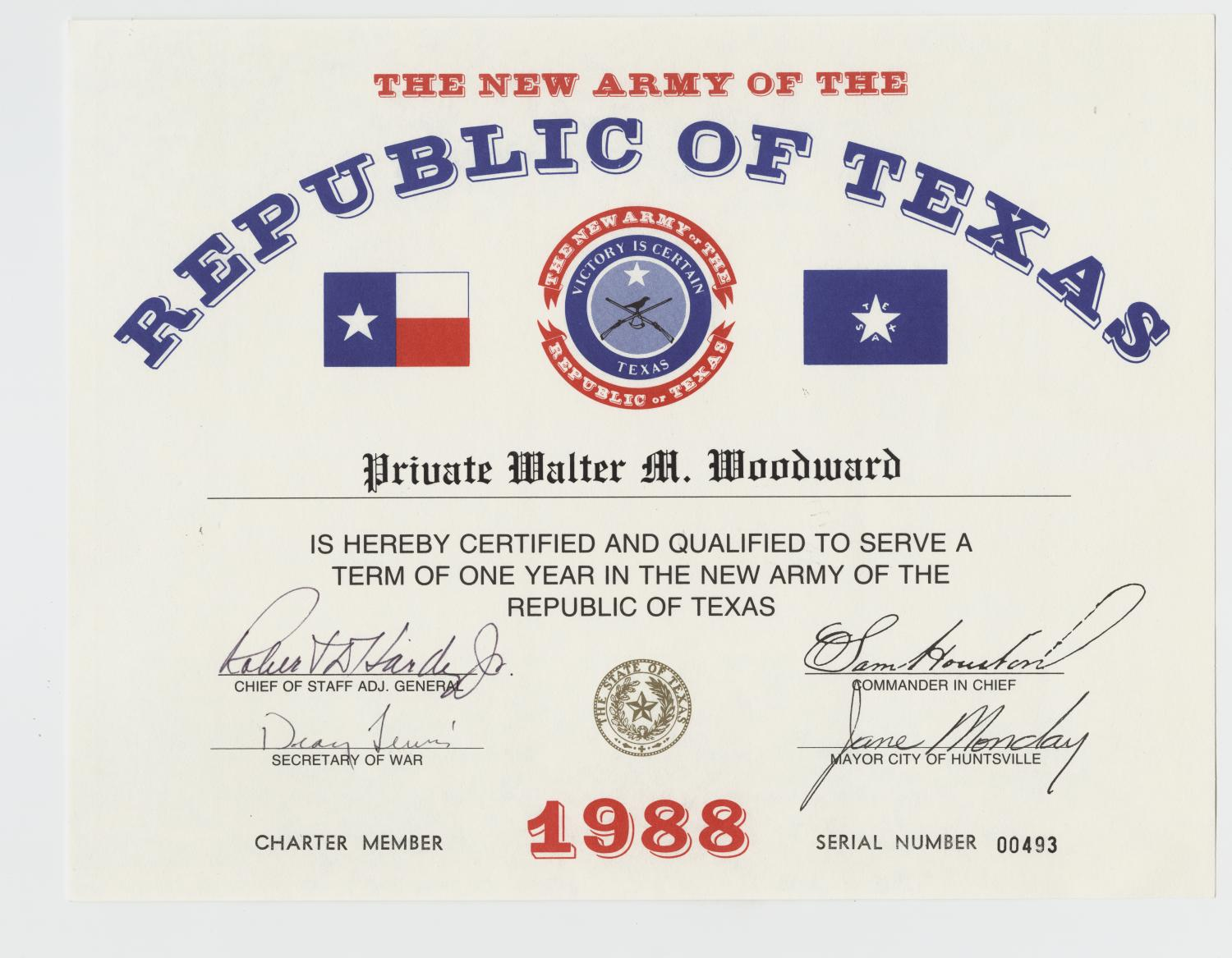 New Army Of The Republic Of Texas Certificate The Portal To Texas