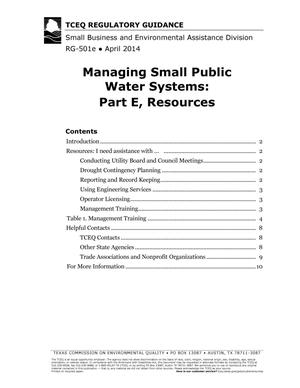 Primary view of object titled 'Managing Small Public Water Systems: Part E, Resources'.