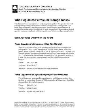 Primary view of object titled 'Who Regulates Petroleum Storage Tanks?'.
