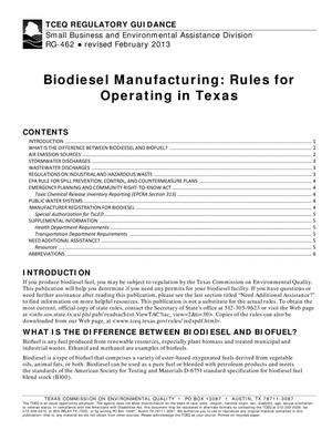 Primary view of object titled 'Biodiesel Manufacturing: Rules for Operating in Texas'.