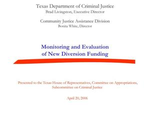 Primary view of object titled 'Monitoring and evaluation of diversion funds'.
