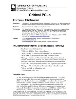 Primary view of object titled 'Critical PCLs'.