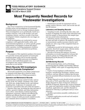 Primary view of object titled 'Texas Commission on Environmental Quality Regulatory Guidance RG-088 Most Frequently Needed Records for Wastewater Investigations'.