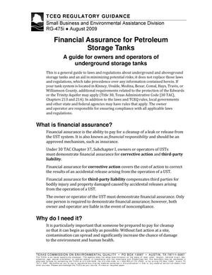 Primary view of object titled 'Financial Assurance for Petroleum Storage Tanks'.