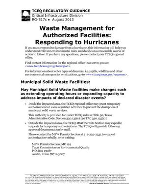 Primary view of object titled 'Waste Management for Authorized Facilities: Responding to Hurricanes'.