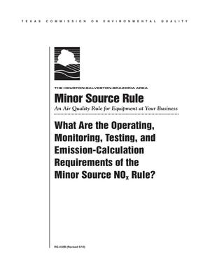 Primary view of object titled 'Minor Source Rule: An Air Quality Rule for Equipment at Your Business'.