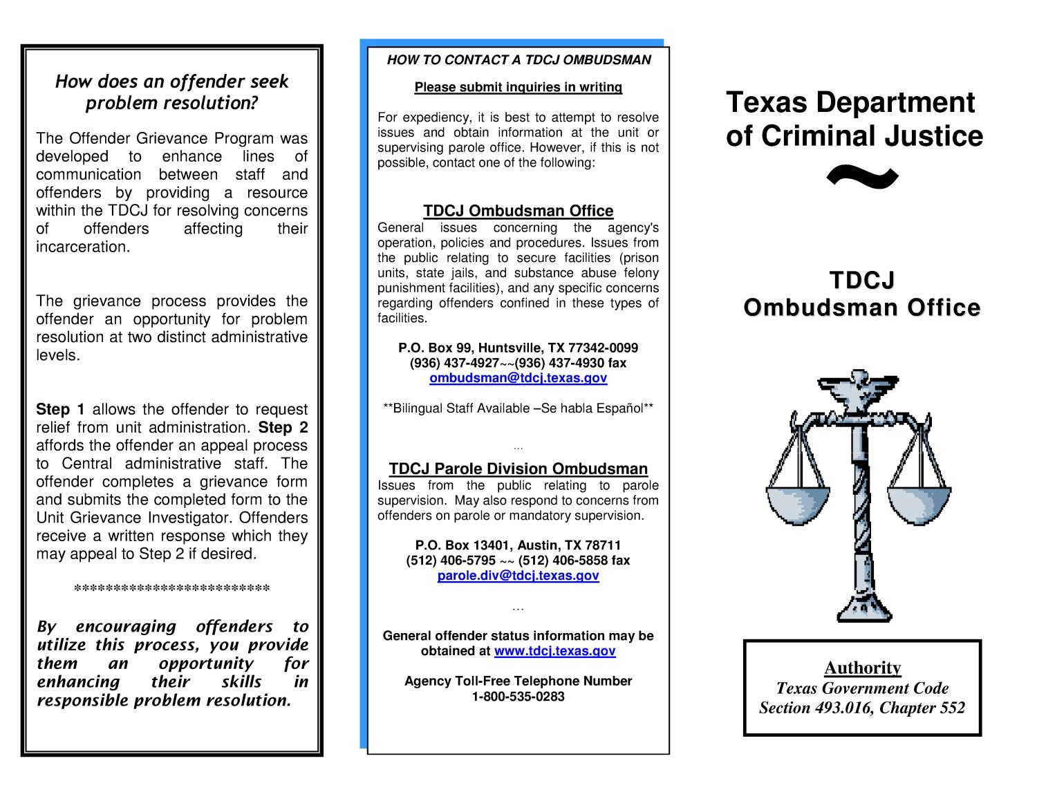 TDCJ Ombudsman Office - Page 1 - The Portal to Texas History