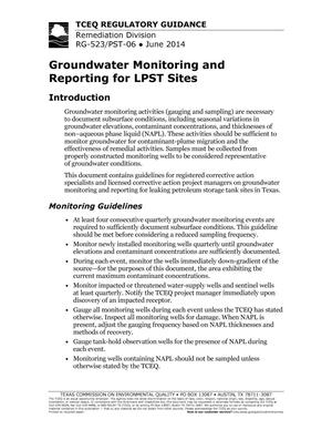 Primary view of object titled 'Groundwater Monitoring and Reporting for LPST Sites'.