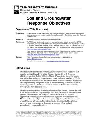 Primary view of object titled 'Soil and Groundwater Response Objectives'.